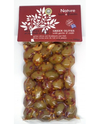 Green olives with  Garlic & Chilli 250gr