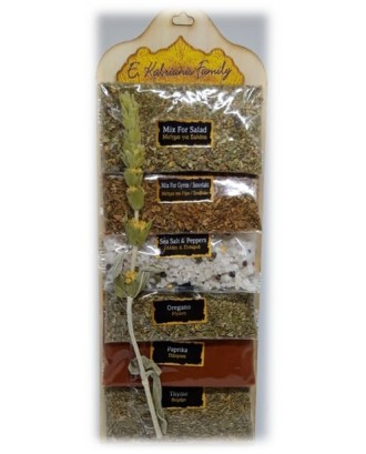 6 sackets of herbs on wooden frame code 0001