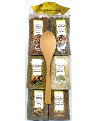6 Sackets of spices with spoon Code 003F