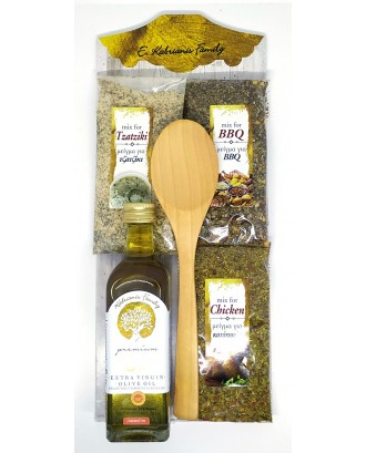 3 SacKets of spices with photo ,olive oil 60 ml & spoon Code 008F