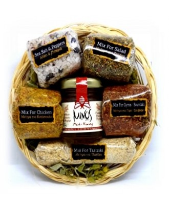 Round basket with 5 sackets of spices & honey 40gr Code ΚΗ03